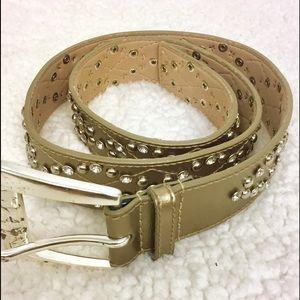 Michael Kors Gold Leather Studded Belt